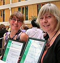 Judy Broady-Preston and Gill Hallam at the Emerald Awards ceremony in Gothenburg
