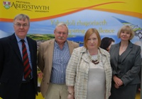 L to R. Professor John Harries, Chief Scientific Advisor to the Welsh Government, Professor Wayne Powell, Director of IBERS, Welsh Government Minister Edwina Hart AM and Professor April McMahon, Vice-Chancellor of Aberystwyth University.