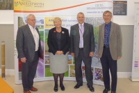 Baroness Randerson with IBERS Director Prof. Wayne Powell, Pro Vice Chancellor Prof Chris Thomas and