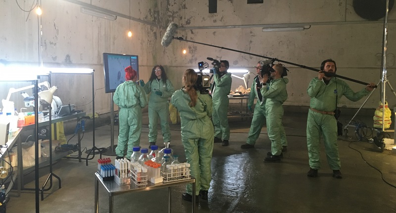 Professor Jo Hamilton (second from left) discussing DNA extraction of a fatberg in Blackfriars sewer in central London during filming for Fatberg Autopsy.