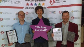 Jukka (left) and Kim (right), with mathematics student Bruce Wight, the AberSU Development Officer elect.
