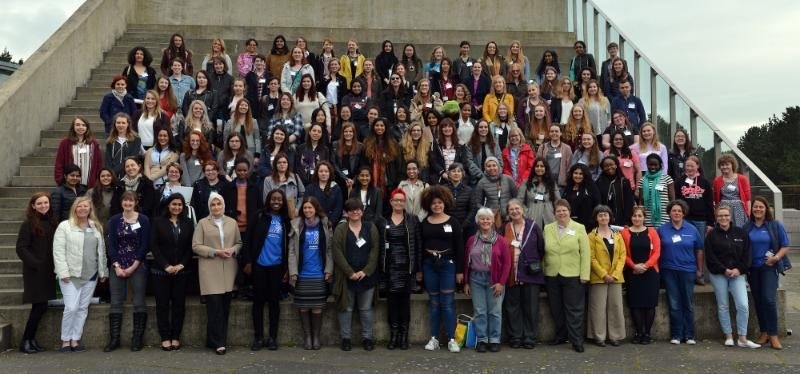 The attendees of the 10th BCSWomen Lovelace Colloquium at Aberystwyth University in 2017