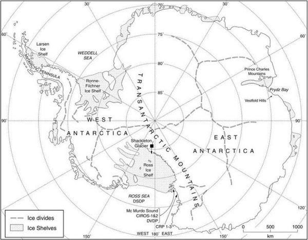 The Antarctic continent illustrating principal areas of Centre for Glaciology research.