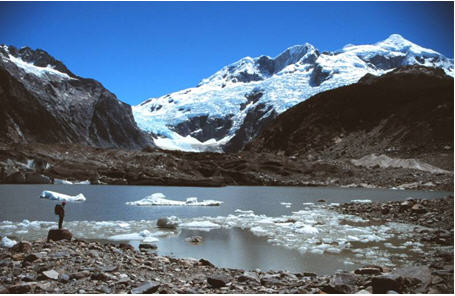 Soler Glacier, an outlet glacier from the eastern side of the North Patagonian Icefield. The glacier is fed from the icefall at the top of the image. The snout of Soler Glacier is currently receding into the proglacial lake in the foreground. Photo: M. J. Hambrey.