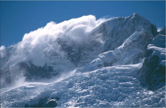 Spindrift shrouds the upper reaches of Cerro Hyades (3042 m), North Patagonian Icefield, Chile. Photo: M. J. Hambrey.
