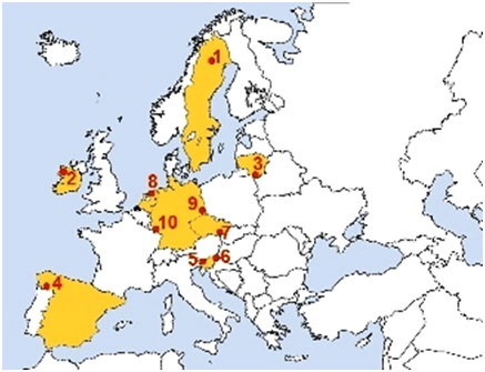A map of Europe showing the 10 case study regions.