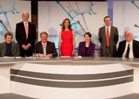 Referendum 2011 - The Power Debates: Betsan Powys (centre), Professor Mike Foley (standing left), Head of the Department of International Politics, and Professor Roger Scully (standing right) Head of the Institute of Welsh Affairs, with members of the panel.