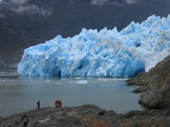 "The front of San Rafael Glacier in Patagonia, one of the 270 glaciers included in this study. This glacier has retreated about 8 km since the peak of the ""Little Ice Age"" around AD1870. Photo credit: Neil Glasser"