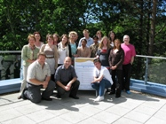 Tony Orme, Aberystwyth University's Enterprise Manager, (kneeling, centre) with staff and students who attended the 2010 Business Start-up Week.