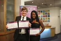 Lynn Abhulimen and Jamie Barker, winners of the Student Employee of the Year Awards 2011