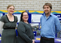 L to R. Members of the E-Services and Communications team, Kate Wright, E-learning Development Officer, Johanna Westwood, E-learning Support Officer and Patrick Glaister, Graduate Trainee, who organised the opening.
