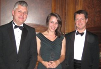 Victoria Franks winner of SET (Europe) Biology Student of the Year 2011 award with Dr Mark Downs, CEO of the Society of Biology (left) and Dr Rupert Marshall from the Institute of Biological, Environmental and Rural Sciences at Aberystwyth University.