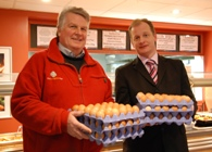 Tony Burgess, owner of Birchgrove Eggs with Jeremy Mabbutt, Head of Hospitality Services, Aberystwyth University.