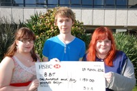 Aberystwyth University students and winning volunteers Emma Bradshaw, Ben Stevens and Kelly Jones.