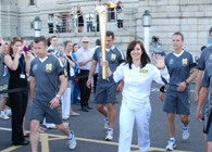 Bridget James with the Olympic Torch.