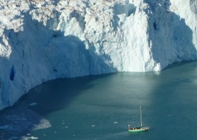 Research vessel Gambo in front of Store glacier in Greenland. Credit: David Eden.