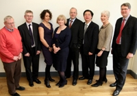 Left to Right: Professor Wayne Powell, Professor Andrew Henley, Professor Sarah Prescott, Professor April McMahon, Professor Neil Glasser, Professor Qiang Shen, Professor Kate Bullen and Professor Tim Woods.