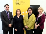 Dr Ioan Matthews, Dr Anwen Jones, Elin Jones AM and Professor April McMahon, Vice-Chancellor.