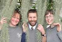 Bioblitz organising team: Dr Pippa Moore, Dr John Warren and Charlie Long in the University Tropical House