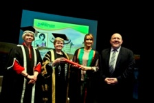 L-R: Vice-Chancellor Professor April McMahon, Gwerfyl Pierce Jones, Vice-President of Aberystwyth University, Alex Jones and Head of Department of Theatre, Film and Television, Dr. Jamie Medhurst.