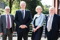 Left to right: Professor Colin McInnes Aberystwyth University, Carwyn Jones AM First Minister, Professor April McMahon, Vice-Chancellor of Aberystwyth University, and Professor W John Morgan, Chairman of the UK National Commission for UNESCO.