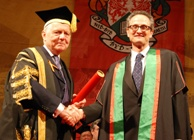 University President, Sir Emyr Jones Parry, presents a Fellowship to Oscar winner and Aberystwyth alumnus, Dr Jan Pinkava, during Graduation 2012.