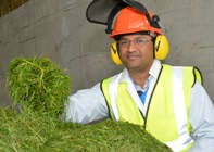 BEACON scientist Dr Sreenivas Rao Ravella, in the primary processing area at BEACON Aberystwyth. BEACON is helping Welsh businesses develop new ways of converting crops such as rye grass into products including pharmaceuticals, chemicals, fuels and cosmetics.