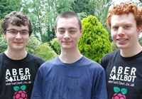 Daniel Clark (left), Ashley Iles and Louis Taylor from the Aber Sailbot team