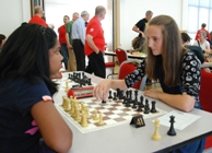 Making a move, Cassie Graham (right) takes on Asha Jina