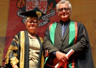 Ms Gwerfyl Pierce Jones, Vice-President of Aberystwyth University, presenting Ed Thomas as Fellow.