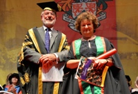 Vice President of Aberystwyth University, Dr Glyn Rowlands, presenting Baroness Kay Andrews as Fellow of Aberystwyth University.