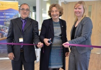 Aberystwyth University Pro Chancellor, Elizabeth France (Centre) opens the new learning and teaching facilities in the Llandinam Building, with Nigel Thomas, Learning Spaces Design Development Manager and architect Nia Jeremiah.