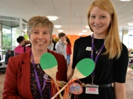 Event organisers Jackie Sayce (left) and Daisy Veronica Rendall with the wooden spoons that were presented to the winners.