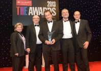 Members of the IBERS team receiving the award for Outstanding Contribution to Innovation and Technology at the 2013 Times Higher Education Awards