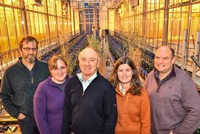 Professor Athole Marshall with oat breeding team members in the BBSRC funded National Plant Phenomics Centre at IBERS