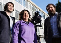 Left to right: Postgraduate researchers Joseph Hutton and Nathalia Alzate who will be travelling to Svalbard to study the eclipse, and Dr Huw Morgan, Reader at the Solar System Physics Group at Aberystwyth University.