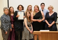 Members of the winning department, English and Creative Writing, celebrating their success at the 2015 Aberystwyth University Student Led Teaching Awards.