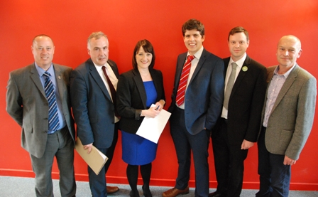 L-R  Gethin James (UKIP), Mark Williams (Liberal Democrats), Sara Gibson (Chair), Huw Thomas (Labour), Daniel Thompson (Green Party) and Mike Parker (Plaid Cymru).