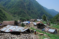 The destroyed village Gyanphedi is very remote one - with no roads. Arche Nova were the first aid group to arrive since the earthquake; driving 4hours and walking 2-3hours to get there.
