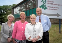 Official opening of Wales Veterinary Science Centre; L to R Professor April McMahon, Vice-Chancellor Aberystwyth University, Professor Christianne Glossop, Chief Veterinary Officer for Wales, Welsh Government Deputy Minister for Farming and Food  Rebecca Evans AM, and Mr Phil Thomas, Director, Iechyd Da.