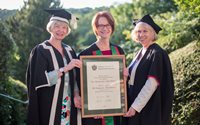 Aberystwyth University Fellow, The Honourable Julia Gillard (Centre) with Professor April McMahon, Vice-Chancellor (left) and Dr Jenny Mathers, Head of the Department of International Politics (right)