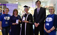 Aberystwyth University Vice-Chancellor's Charity of the Year 2015/16: (left to right) Bethan Roberts, Chief Operating Officer Mind Aberystwyth; Fiona Aldred, Chief Executive Mind Aberystwyth; Professor April McMahon, Vice-Chancellor Aberystwyth University; Tim Bennett, Chief Business & Finance Officer and Zoe Berridge, Mental Health Coordinator Mind Aberystwyth.