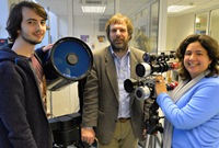 Dr Huw Morgan (centre) was a leading member of an international team that studied the 2015 solar eclipse.