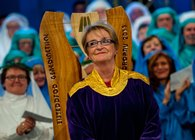 Manon Rhys, winner of the Crown at this year's National Eisteddfod Credit: Aled Llywelyn/Eisteddfod Genedlaethol Cymru