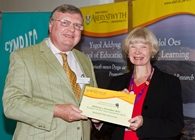 Ron Lewis, Carmarthen, winner of the Lifelong Learning Student of the Year Award, presented by Professor April McMahon, Aberystwyth University Vice-Chancellor at the Awards Ceremony held at Aberystwyth University on 21 October 2015.