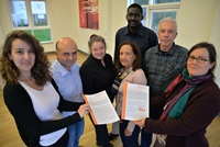 Members of IMPRESA meeting at Aberystwyth University; (left to right) Myriam Doghmi, Euroquality; Davide Viaggi, University of Bologna; Dominique Barjolle, FiBL (Research Institute of Organic Agriculture; Danielle Barret, CIRAD, France (Project Advisor); Abdoulaye Saley Moussa, UN Food and Agriculture Organization; Peter Midmore, Aberystwyth University; and Simone Sterly, IfLS - Institute for Rural Development Research, Johann Wolfgang Goethe University, Frankfurt