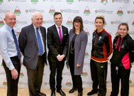 Pictured left to right: Dr Rhodri Llwyd Morgan, Pro Vice-Chancellor Aberystwyth University; Sir Emyr Jones Parry, Chancellor of Aberystwyth University; Ken Skates AM, Deputy Minister for Culture, Sport and Tourism; Sioned Hughes, Chief Executive of Urdd Gobaith Cymru; Elinor Snowsill, Welsh international rugby player, and Elan Gilford, Wales Sport Awards' Young Volunteer of the Year.