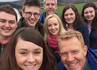Selfie taken by Elliw James with Adam Henson Countryfile presenter, Dyfed Davies, Cennydd Owen Jones and Hanna Thomas; Dafydd Evans, Lynwen Mathias and Teleri Evans.
