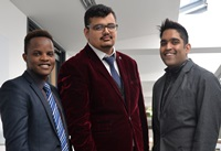 Left to Right: Aberystwyth University undergraduate students Brandon Ribatika from the School of Management & Business, Mohammed Waqas from the Department of International Politics and Sohail Iqbal from the Institute of Biological, Environmental and Rural Sciences, are representing the University in the London regional final of the Hult Prize on 11-12 March 2016.