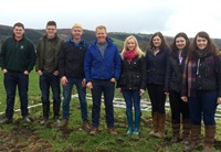 IBERS students pictured with Adam Henson during filming for Countryfile